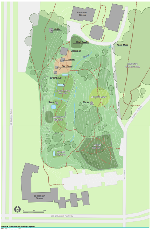 drawn map of the Outback Farm