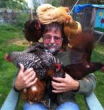 John Bower sitting in a chair holding 6 six chickens on his lap, shoulders, and head