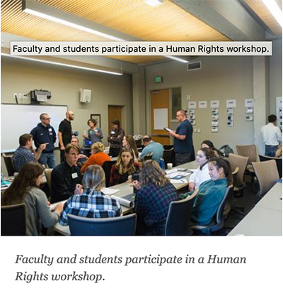Faculty and students participate in a Human Rights workshop