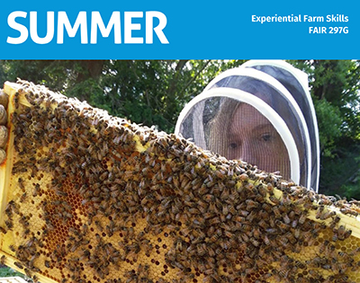 a student in beekeeper suit holding up a large honeycomb
